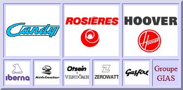 CANDY, Rosières, Hoover, Iberna, Kelvinator, Zerowatt, Otsein, Vendome, gasfire