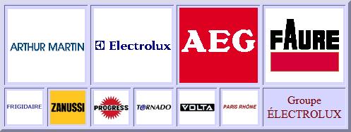 Electrolux, Aeg, Arthur-Martin, Zanussi, Faure, Frigidaire, Tornado, Progress, Volta, Paris-Rhone